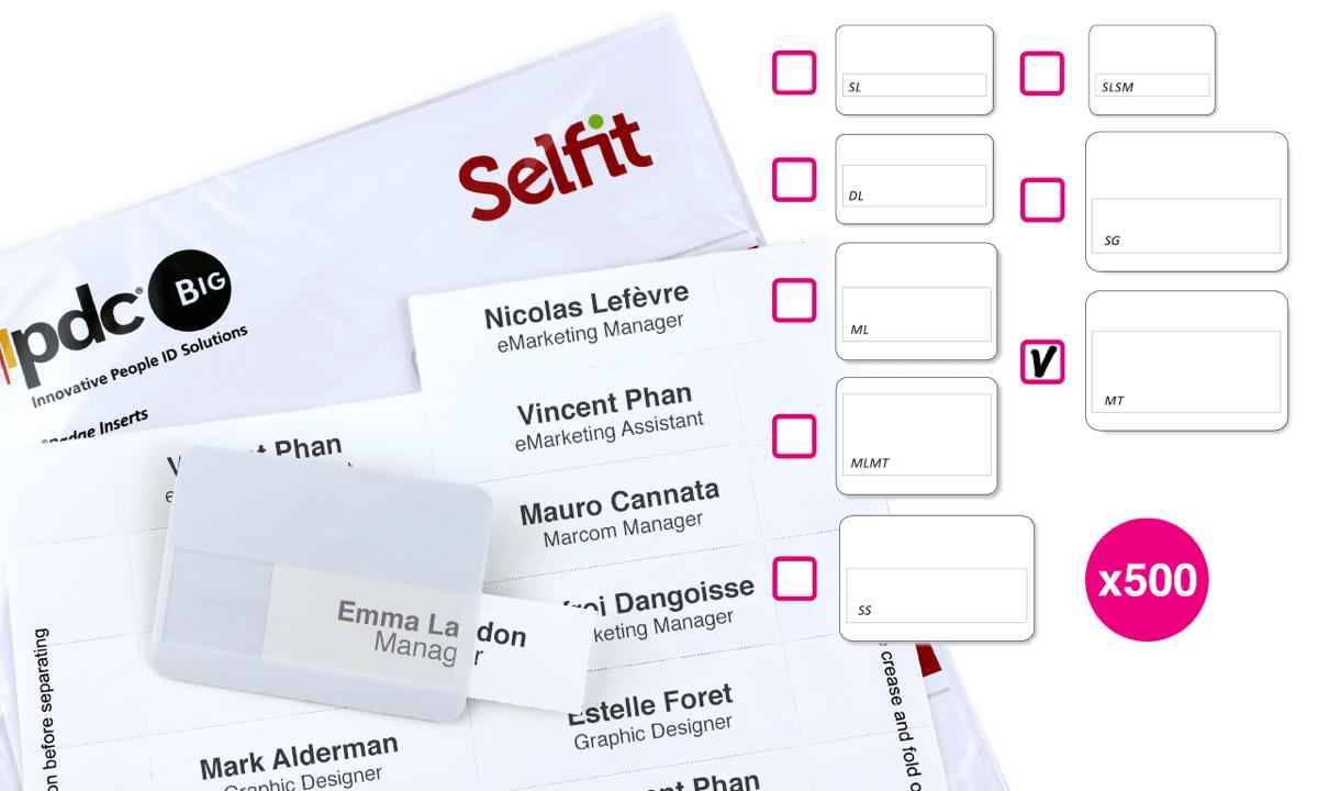 Megatag Selfit® Inserts, 95 x 36 mm, White, 500 inserts