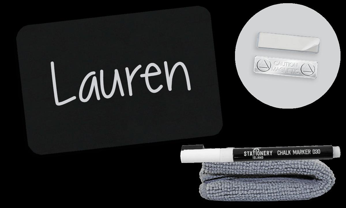 chalkboard badge 75mm x 50mm blank magnetic fastener