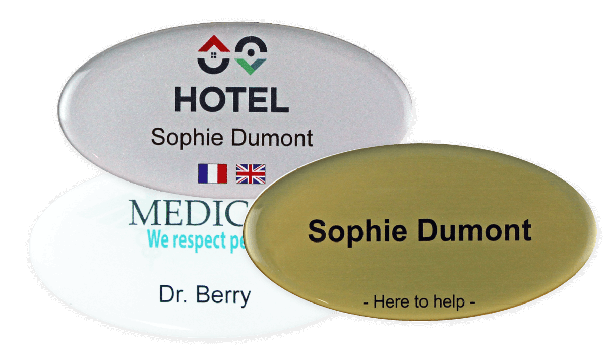 Premium Impress Name Badge, 75 X 38 mm - Oval