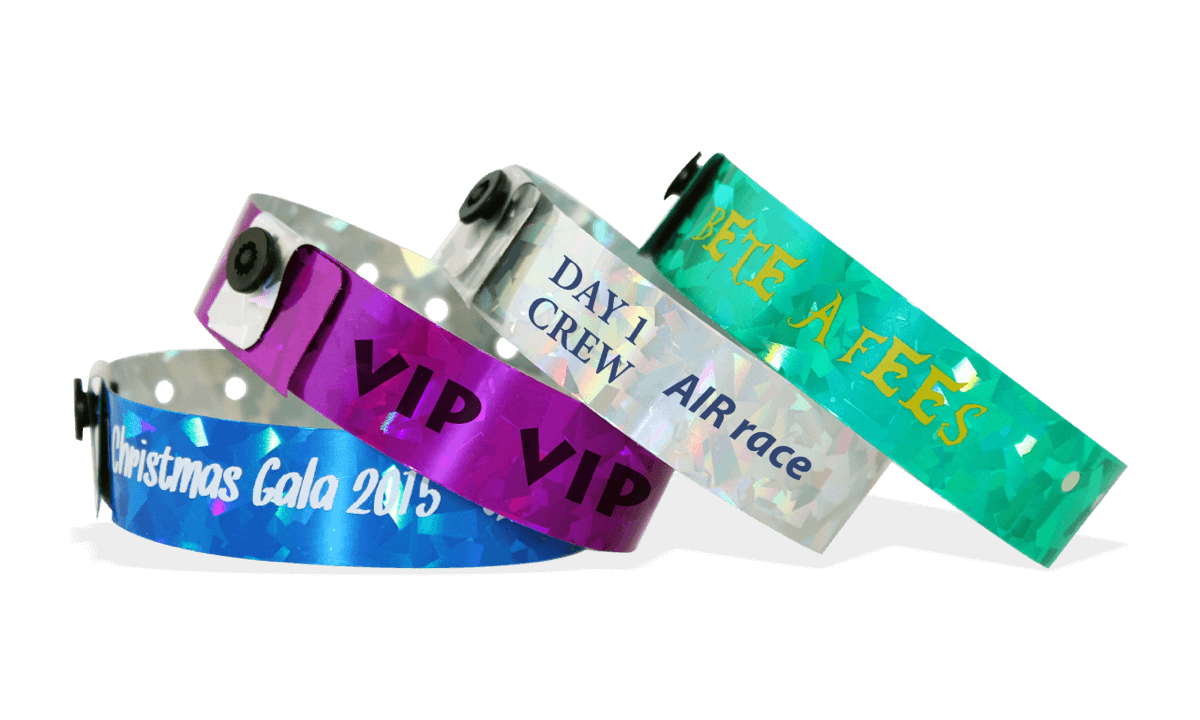 Custom Holographic wristbands 19 mm confetti