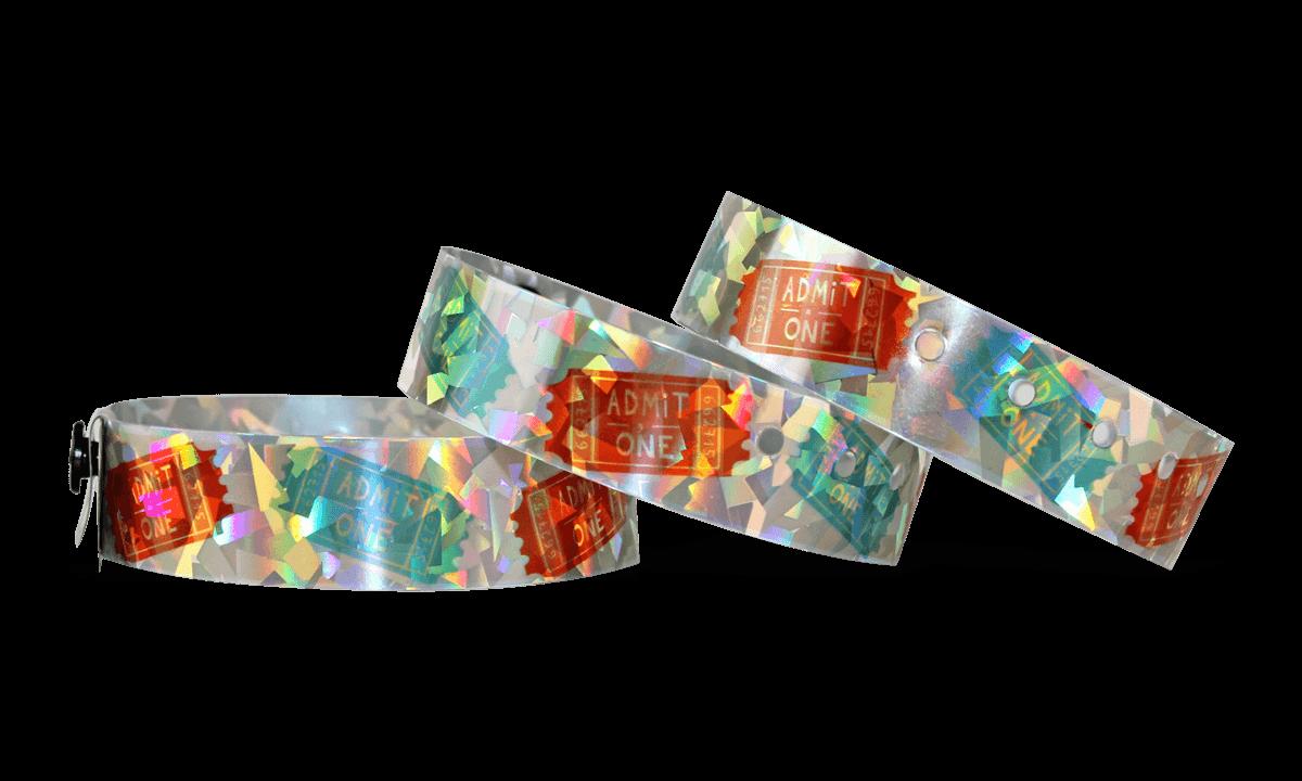 Custom Full-Colour Holographic wristbands 19 mm confetti