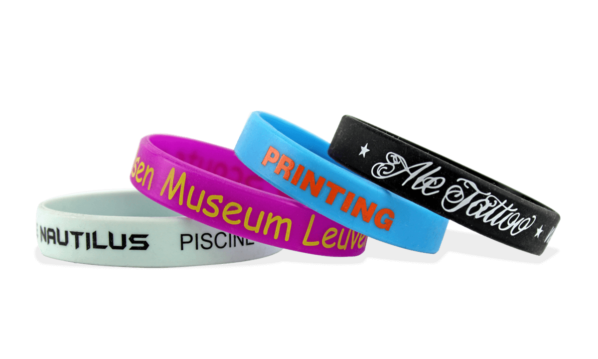 Custom Silicone Wristbands, Medium Size, 1-Colour Printed