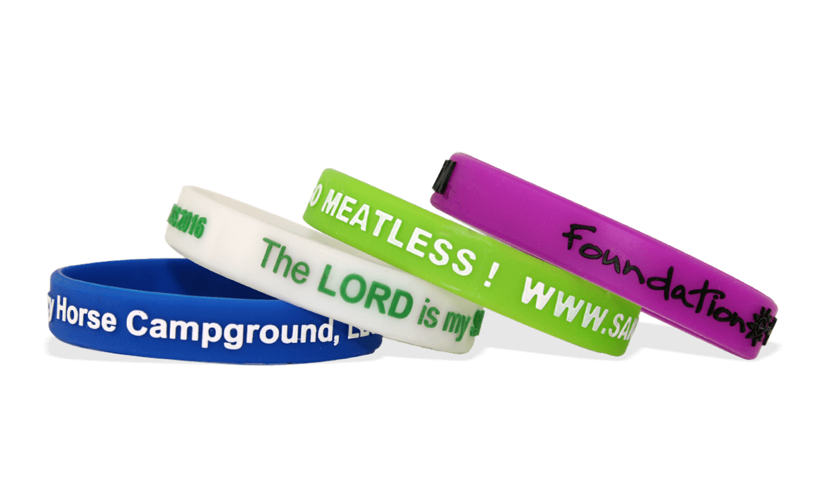 Custom Silicone Wristbands, Medium Size, Printed Embossed