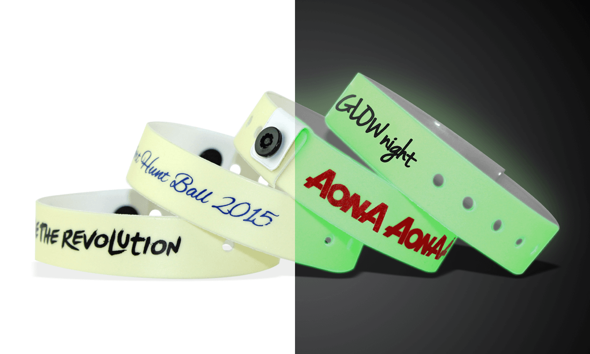 Custom Vinyl Wristbands, 19 mm, Glow In The Dark