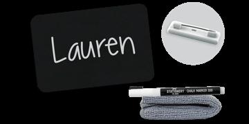 Chalkboard Badge 75mm X 50mm, Blank, Standard Pin Fastener