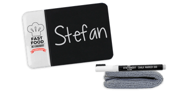 Chalkboard Name Badges, 75 X 50 mm, Custom Imprint on the Left