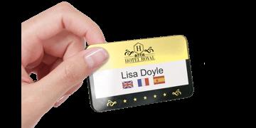 Reusable Selfit® PRO Double line Name Badges, 70 x 40 mm