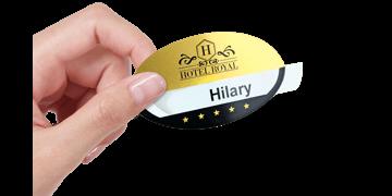 Reusable Selfit® PRO Single line Name Badges, 70 x 40 mm, Oval shape