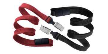 Tubular 10mm Break-Away Lanyards with Bulldog Clip