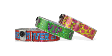 Custom Full-Colour Holographic wristbands 19 mm liquid glitter