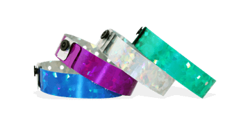 Holographic wristbands 19 mm confetti