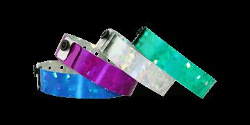 Holographic wristbands 19 mm confetti