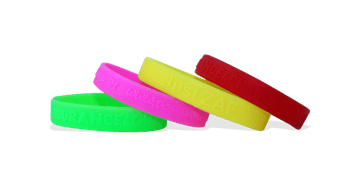 Custom Silicone Wristbands, Small Size, Embossed