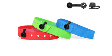 Stock Woven wristbands with plastic round clip closure, Nice